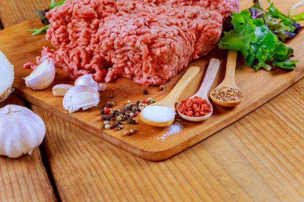 Raw fresh ground beef meat minced meat on plate