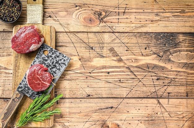Сырое свежее мраморное мясо стейк из филе миньон