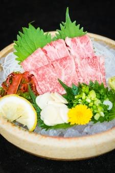 Raw and fresh matsusaka beef sashimi