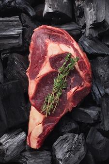 Raw fresh meat ribeye steak.