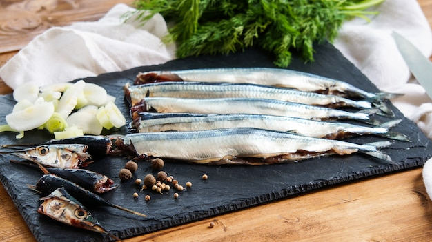 Raw fresh needlefish (belonidae family) on the plate ready to cook