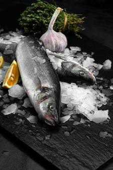 검은 슬레이트, 돌 또는 콘크리트 배경 위에 얼음 조각에 레몬을 넣은 신선한 유기농 도라도 또는 도미.