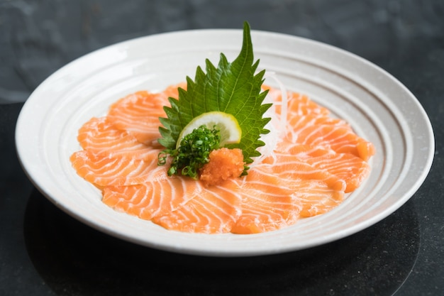 Raw fresh salmon sashimi