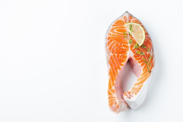 Raw fresh salmon or trout steak.