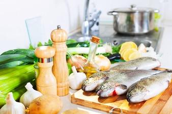 Raw fresh trout fish