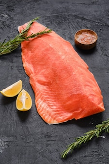 Raw frozen salmon fillet