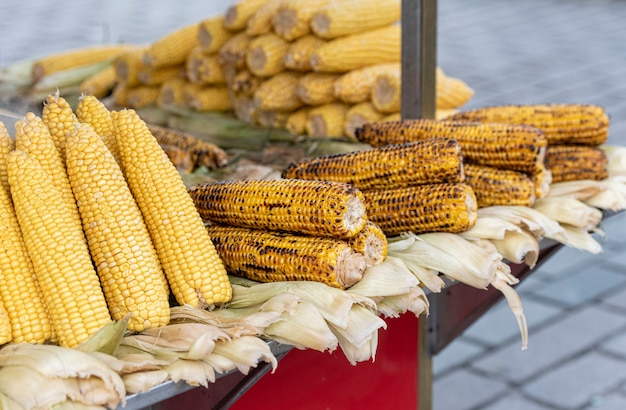 Raw, grilled and boiled corns in a street of istanbul