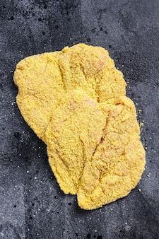 生の自家製パン粉をまぶしたドイツのweinerschnitzel