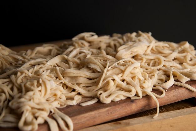 Raw homemade pasta. handmade traditional pasta.