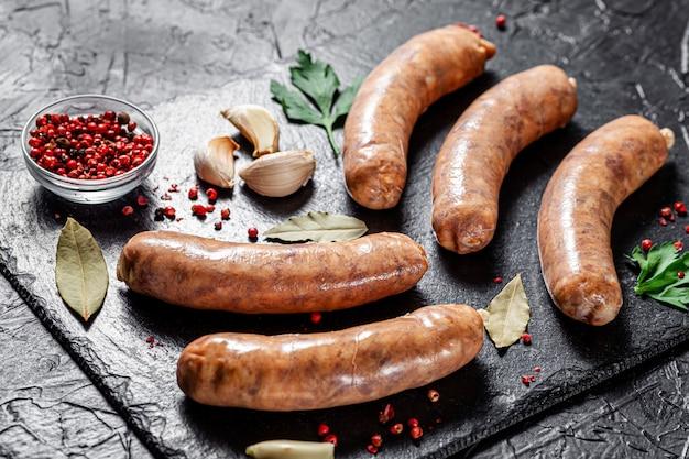 Raw homemade pork barbecue sausages
