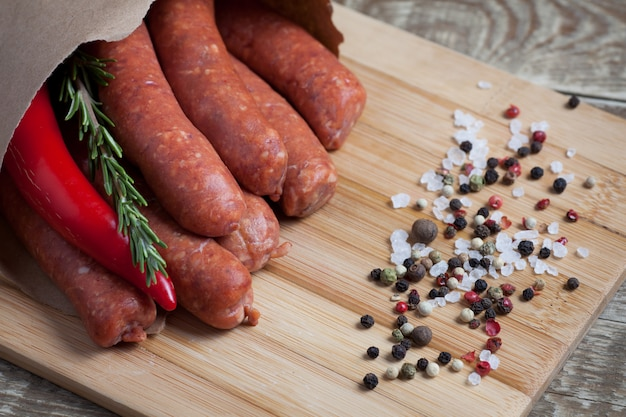 Raw homemade sausages.