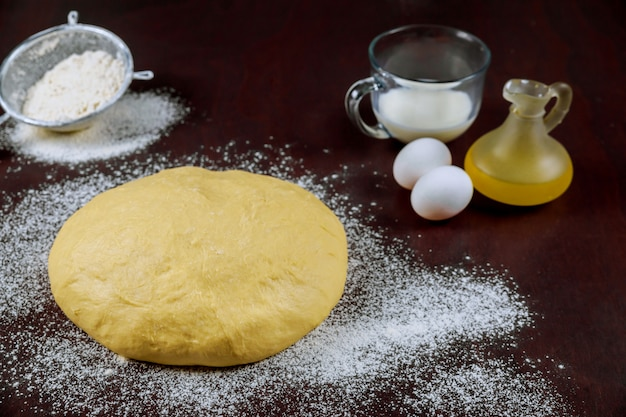 Raw homemade yeast dough with oil, eggs and milk