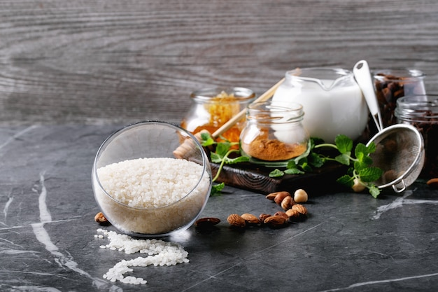 Raw ingredients for cooking rice pudding