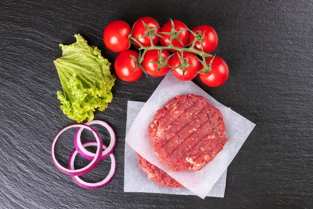 The raw ingredients for the homemade burger