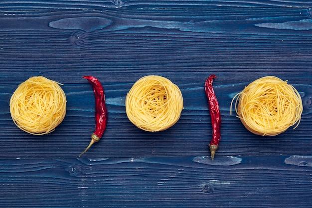 Raw italian pasta, top view