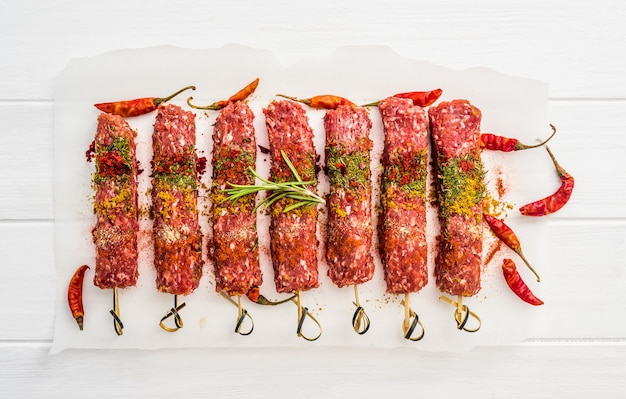 Raw kebab with spices