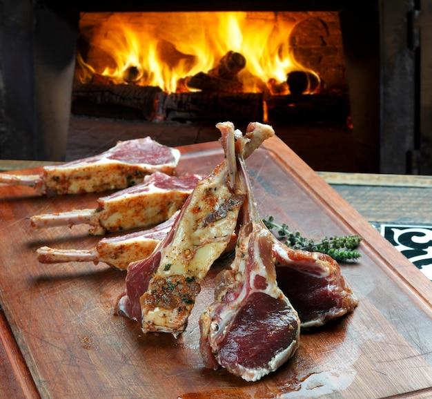 Raw lamb's rib