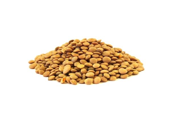 白い背景で隔離の生レンズ豆種子ヒープ