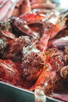 Raw lion fish at fish market