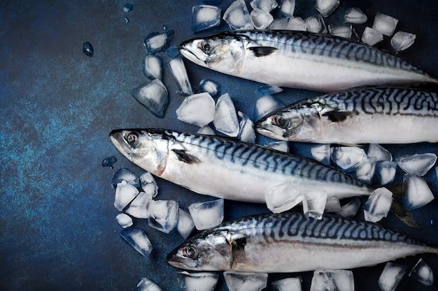 青いコンクリートで調理するための材料と生のサバの魚