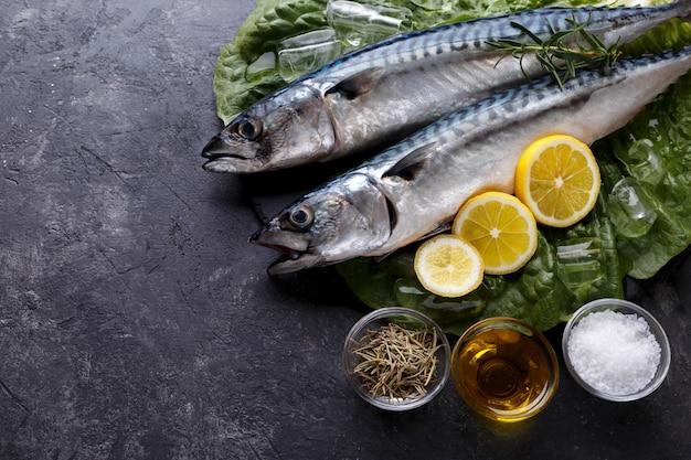Raw mackerel fish