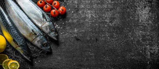 生サバとレモンスライスとトマト。暗い素朴なテーブルの上