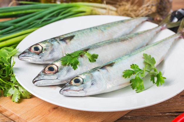 Raw mackerel with and spices