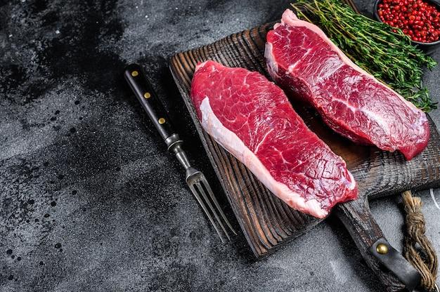 Raw marbled beef meat sirloin steak