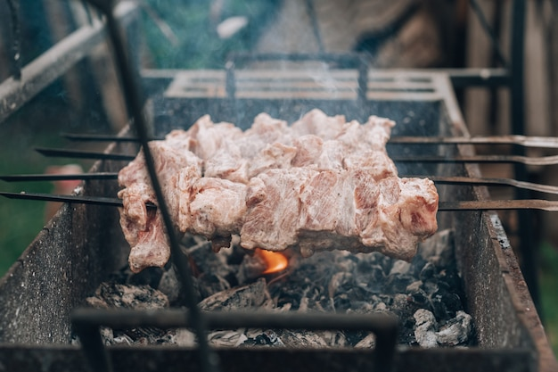Сырое мясо на шпажках готовят на мангале, готовят шашлык на открытом воздухе