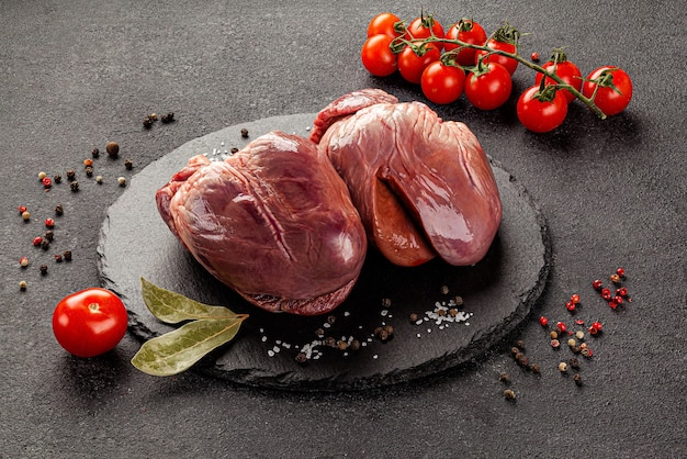 Raw meat products, different parts of the body