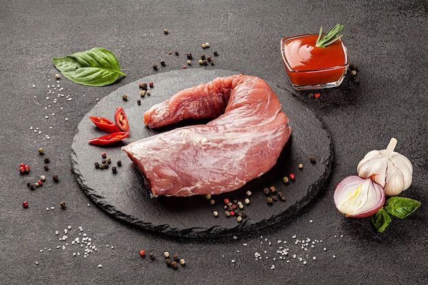 Raw meat products different parts of the body