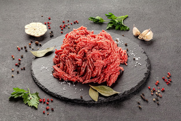 Raw meat products veal or mixed homemade minced meat with spices
