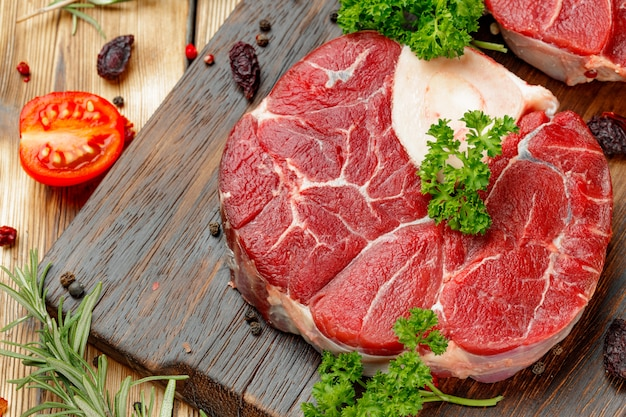 Raw meat slice for grill with seasoning