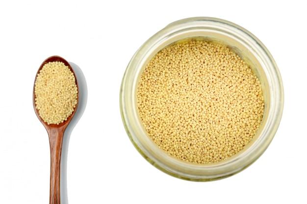 Raw millet in a jar