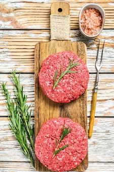 Raw mince meat patties