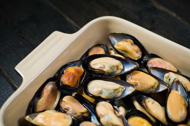 Raw mussels.