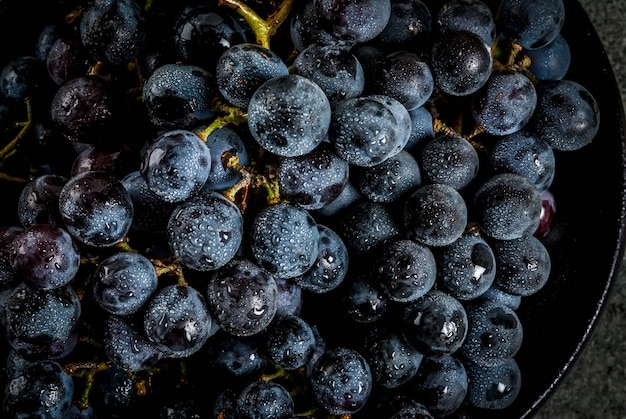 Raw natural organic farmer's black grapes bunches on black plate dark stone background top close view
