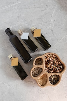 Raw oil from a cold-pressed dairy. detox concept. healthy vegan organic food
