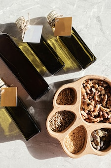 Raw oil from a cold-pressed dairy and different nuts seeds
