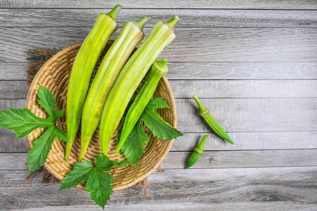 Raw okra in basket