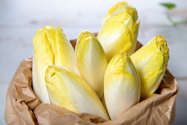 Raw organic belgian or french endive