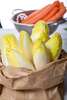 Raw organic belgian or french endives