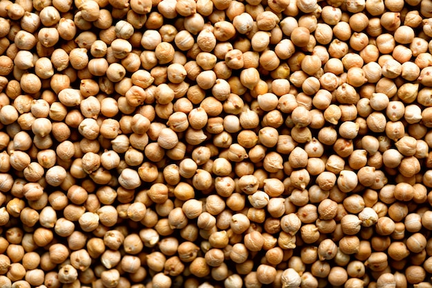 Raw organic dried chickpea texture. vegan healthy nutrition. top view, copy space, healthy lifestyle concept.