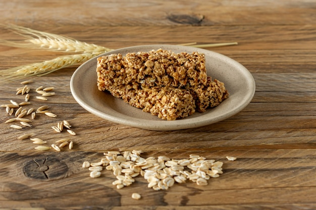 Raw organic granola bars with seeds and nuts. homemade sweet healthy dessert for breakfast.