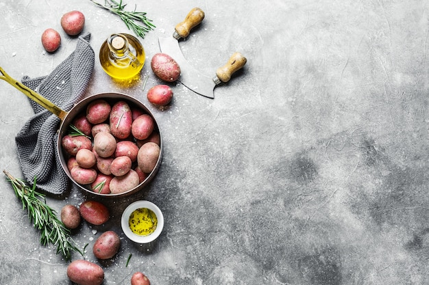 Сырой органический картофель со специями на сером фоне