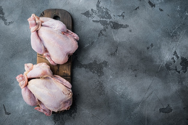 Raw organic uncooked whole chicken meat, on gray