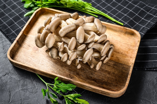 Raw oyster mushrooms in a wooden bowl with parsley. organic food. black background. top view