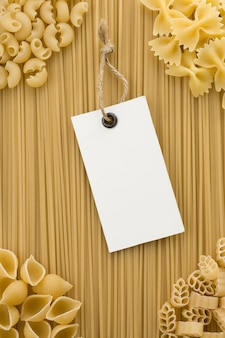Raw pasta and price tag label