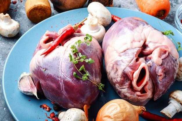 Raw pork heart