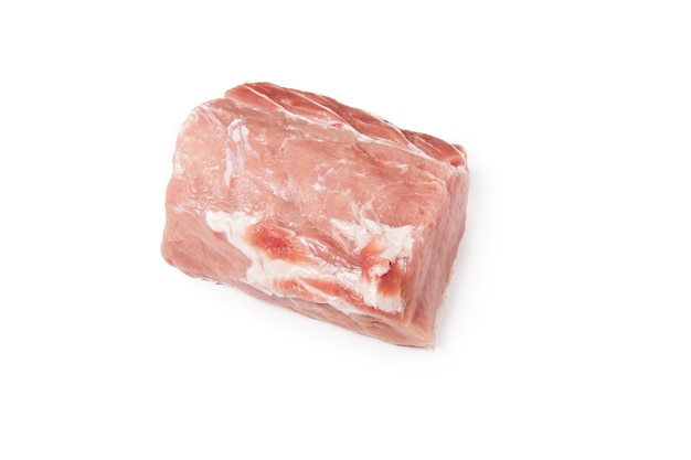 Raw pork meat isolated on  whole piece of meat. flat lay, top view